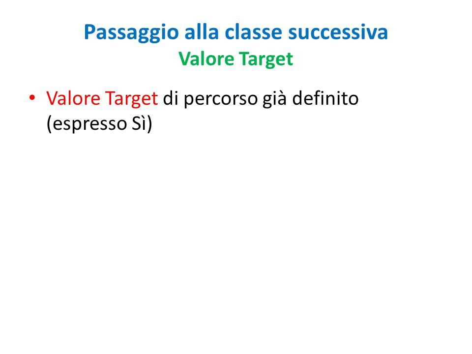 Passaggio alla classe successiva Valore Target Valore Target di percorso già definito (espresso Sì)