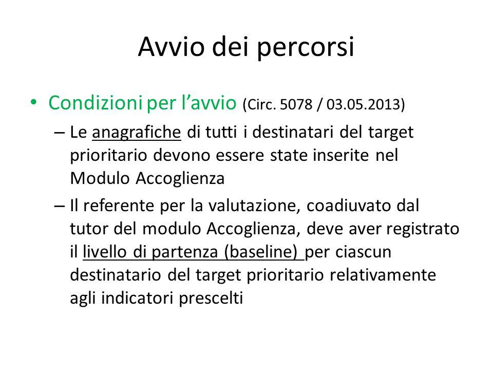 Avvio dei percorsi Condizioni per l'avvio (Circ. 5078 / 03.05.2013) – Le anagrafiche di tutti i destinatari del target prioritario devono essere state