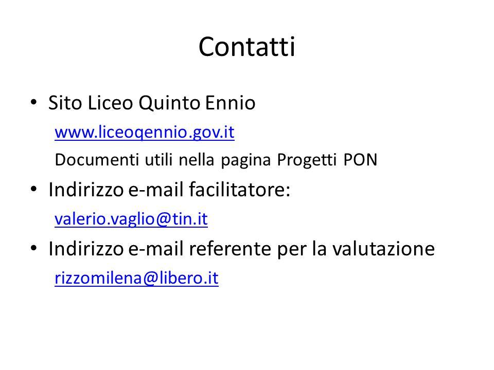 Contatti Sito Liceo Quinto Ennio www.liceoqennio.gov.it Documenti utili nella pagina Progetti PON Indirizzo e-mail facilitatore: valerio.vaglio@tin.it