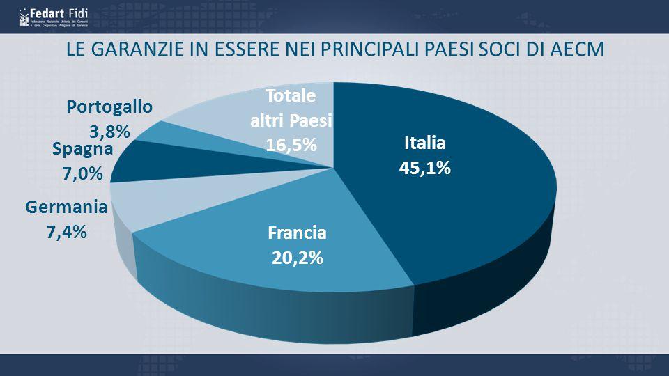 LE GARANZIE IN ESSERE NEI PRINCIPALI PAESI SOCI DI AECM Italia 45,1% Francia 20,2% Germania 7,4% Spagna 7,0% Portogallo 3,8% Totale altri Paesi 16,5%