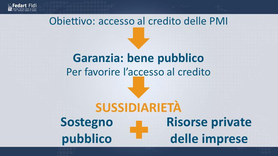 Garanzia: bene pubblico Per favorire l'accesso al credito Sostegno pubblico Risorse private delle imprese SUSSIDIARIETÀ Obiettivo: accesso al credito