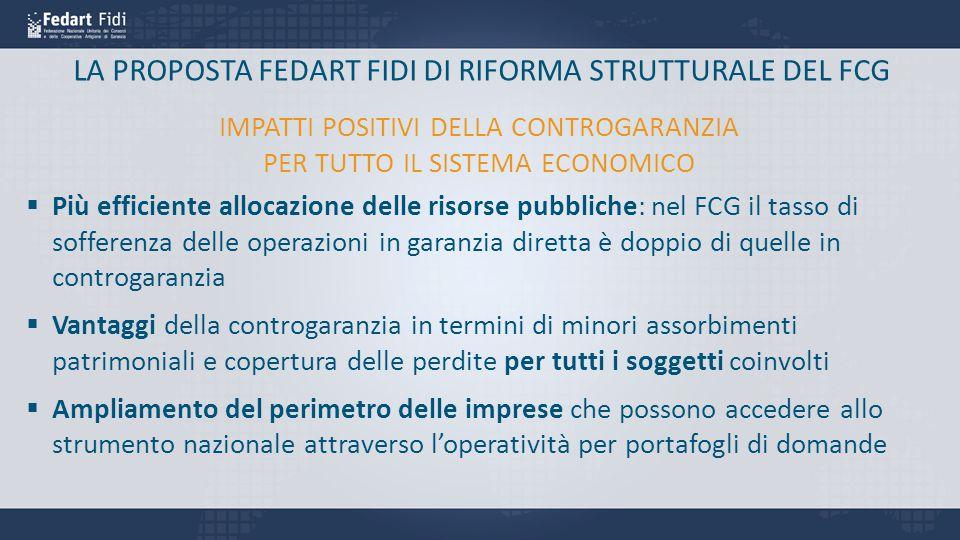 LA PROPOSTA FEDART FIDI DI RIFORMA STRUTTURALE DEL FCG  Più efficiente allocazione delle risorse pubbliche: nel FCG il tasso di sofferenza delle oper