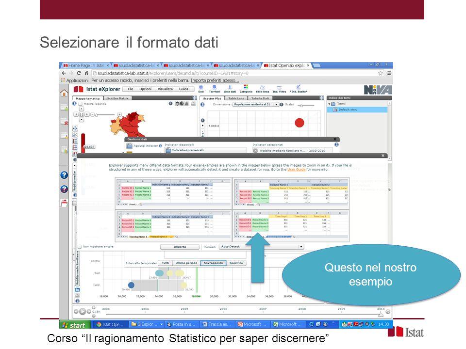 """Selezionare il formato dati Corso """"Il ragionamento Statistico per saper discernere"""" Questo nel nostro esempio"""