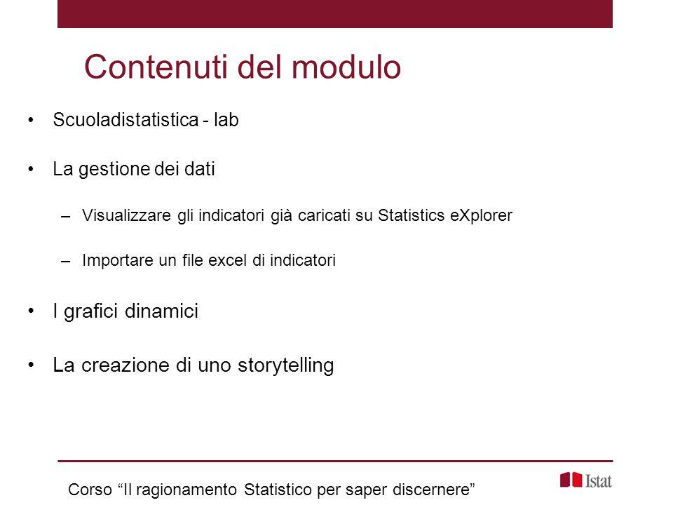 Scuoladistatistica - lab La gestione dei dati –Visualizzare gli indicatori già caricati su Statistics eXplorer –Importare un file excel di indicatori