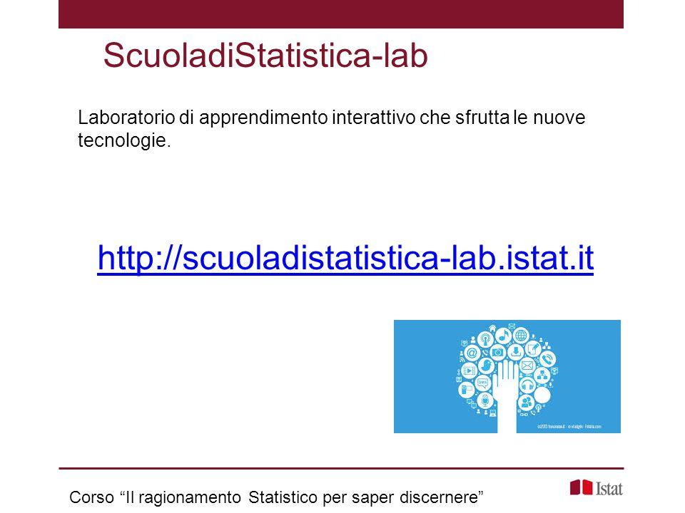 """Laboratorio di apprendimento interattivo che sfrutta le nuove tecnologie. ScuoladiStatistica-lab http://scuoladistatistica-lab.istat.it Corso """"Il ragi"""