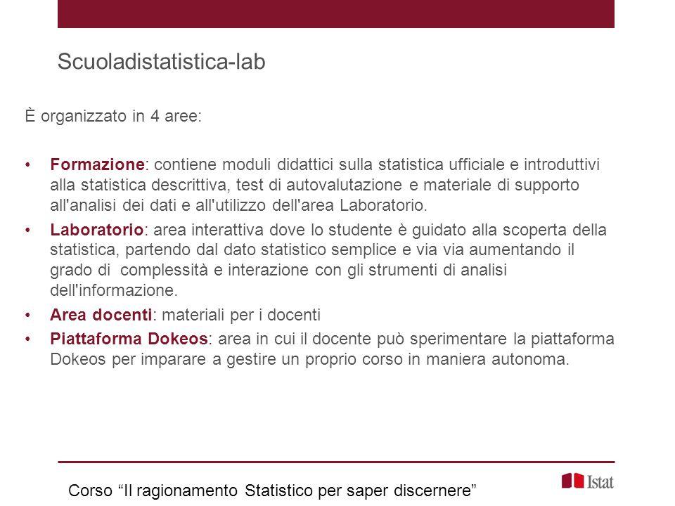 Scuoladistatistica-lab È organizzato in 4 aree: Formazione: contiene moduli didattici sulla statistica ufficiale e introduttivi alla statistica descri