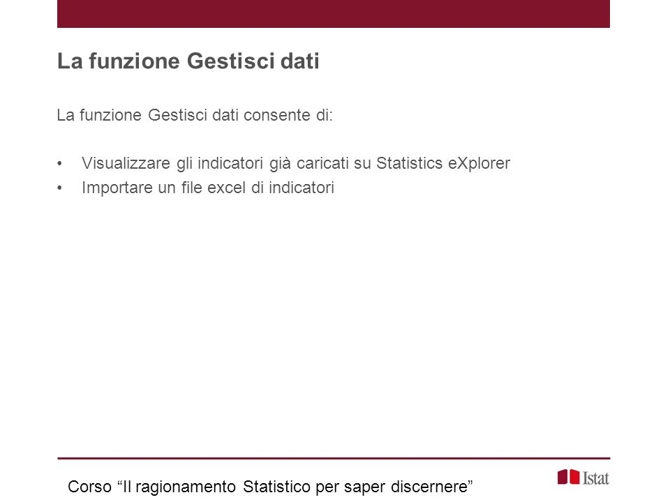 La funzione Gestisci dati La funzione Gestisci dati consente di: Visualizzare gli indicatori già caricati su Statistics eXplorer Importare un file exc