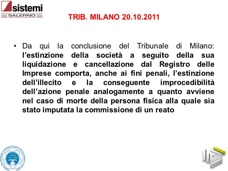 Da qui la conclusione del Tribunale di Milano: l'estinzione della società a seguito della sua liquidazione e cancellazione dal Registro delle Imprese