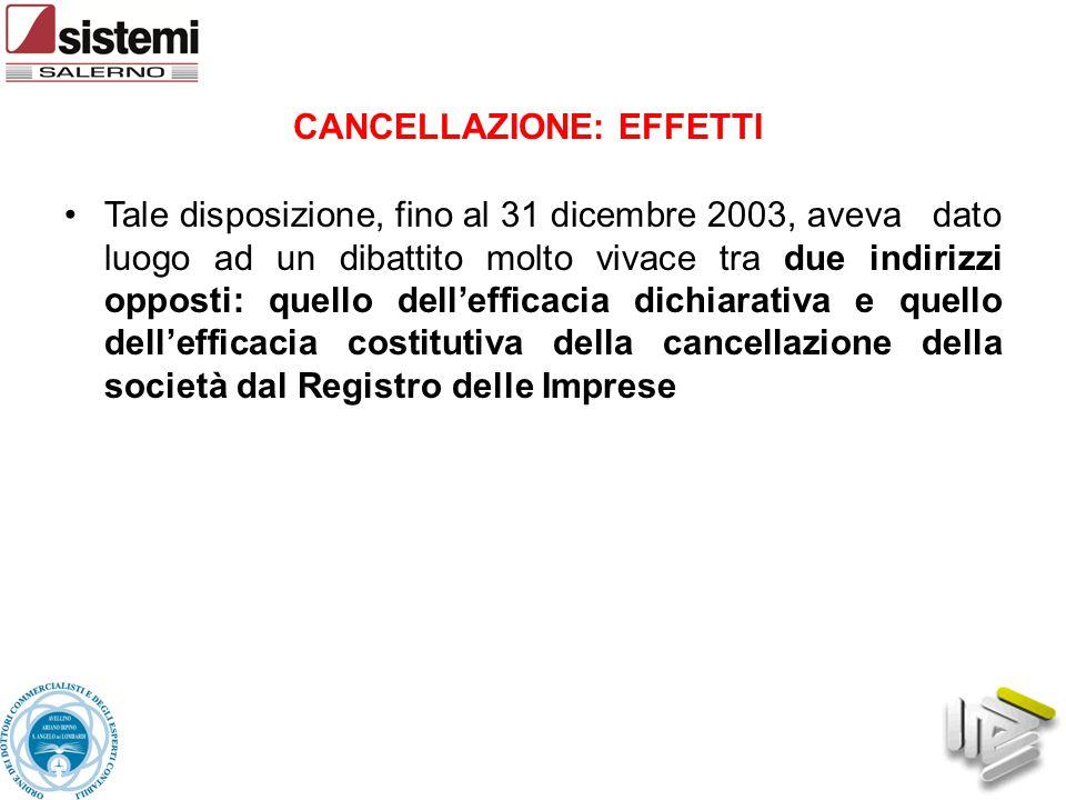 Tale disposizione, fino al 31 dicembre 2003, aveva dato luogo ad un dibattito molto vivace tra due indirizzi opposti: quello dell'efficacia dichiarati