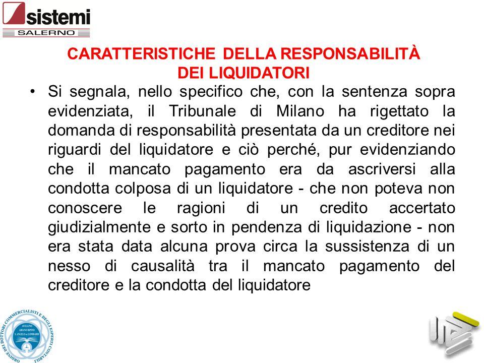 Si segnala, nello specifico che, con la sentenza sopra evidenziata, il Tribunale di Milano ha rigettato la domanda di responsabilità presentata da un