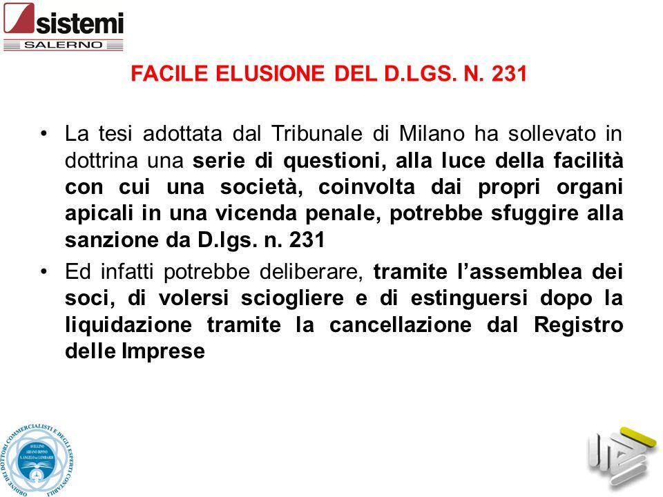 FACILE ELUSIONE DEL D.LGS. N. 231 La tesi adottata dal Tribunale di Milano ha sollevato in dottrina una serie di questioni, alla luce della facilità c