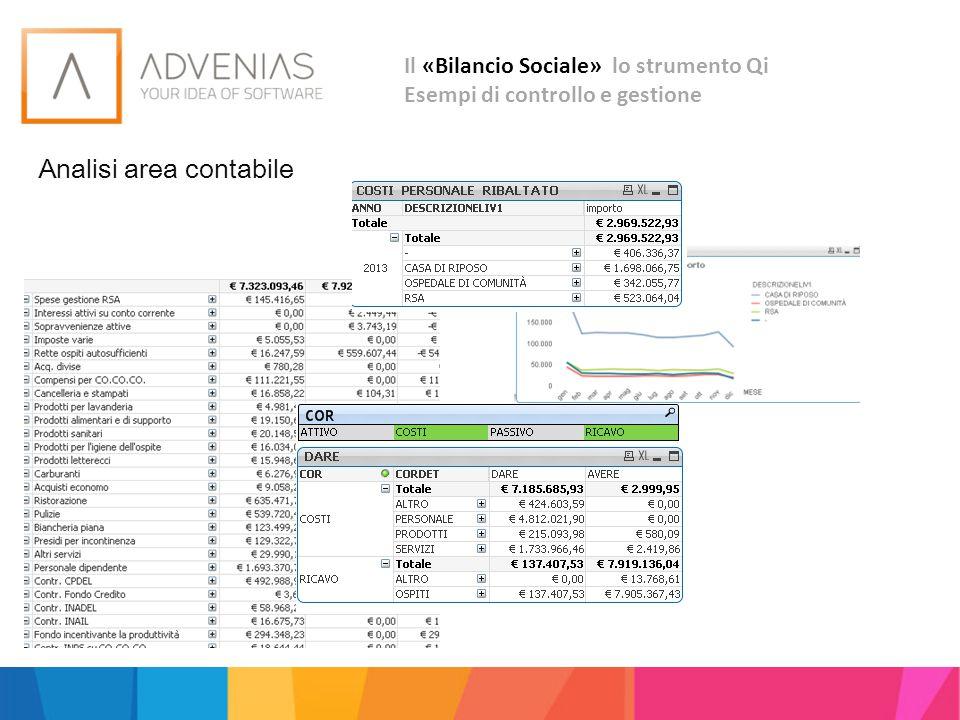 Il «Bilancio Sociale» lo strumento Qi Esempi di controllo e gestione Analisi area contabile