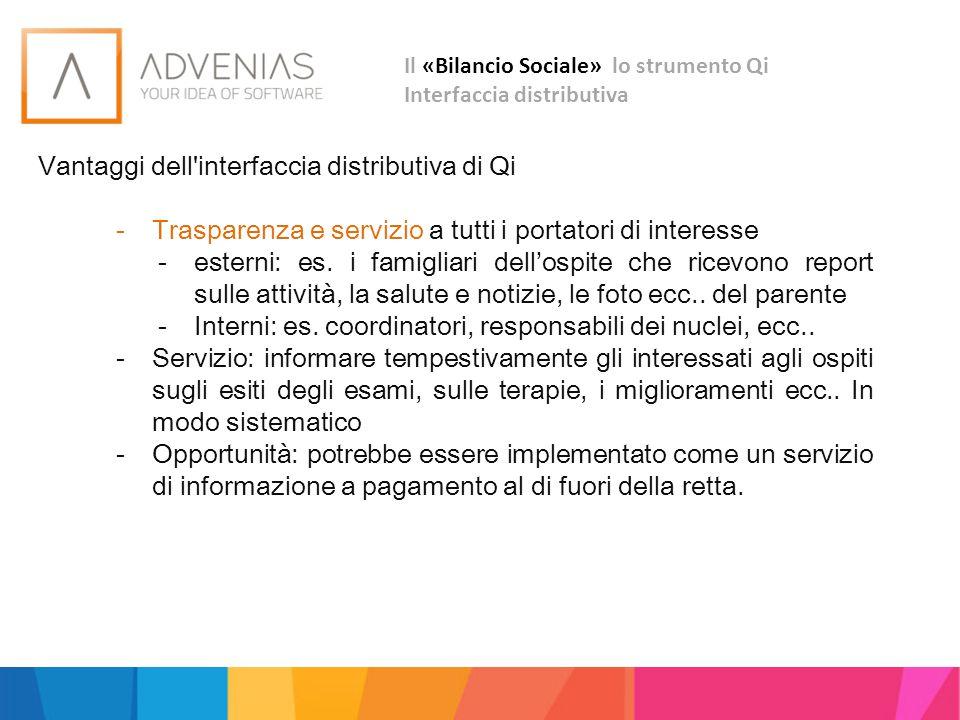 Vantaggi dell'interfaccia distributiva di Qi -Trasparenza e servizio a tutti i portatori di interesse -esterni: es. i famigliari dell'ospite che ricev
