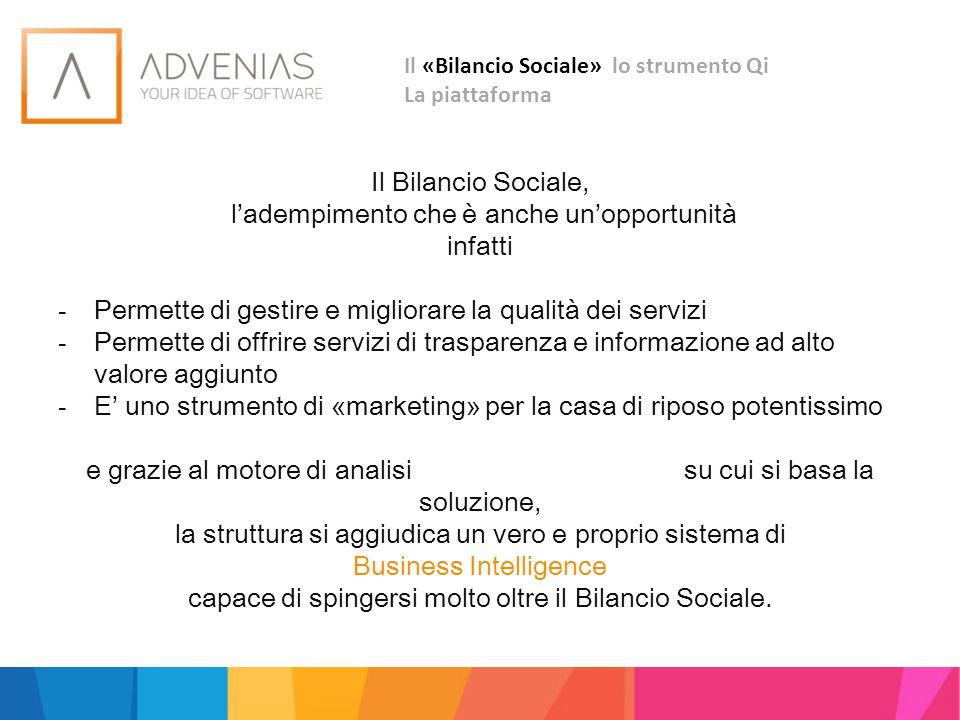 Il «Bilancio Sociale» lo strumento Qi La piattaforma Il Bilancio Sociale, l'adempimento che è anche un'opportunità infatti - Permette di gestire e mig