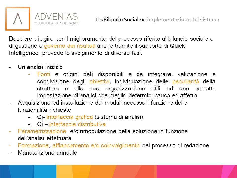 Il «Bilancio Sociale» implementazione del sistema Decidere di agire per il miglioramento del processo riferito al bilancio sociale e di gestione e gov