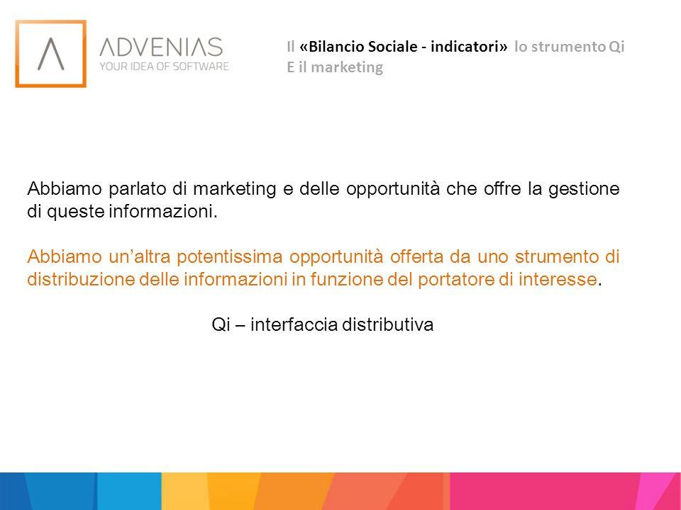 Il «Bilancio Sociale - indicatori» lo strumento Qi E il marketing Abbiamo parlato di marketing e delle opportunità che offre la gestione di queste inf