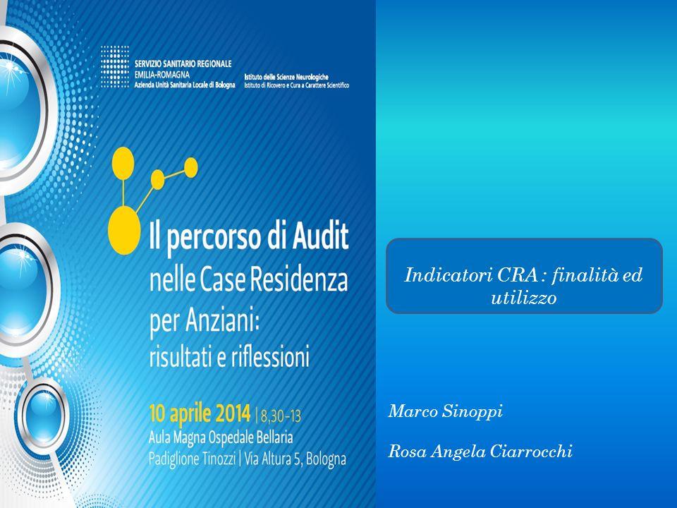 Indicatori CRA : finalità ed utilizzo Marco Sinoppi Rosa Angela Ciarrocchi