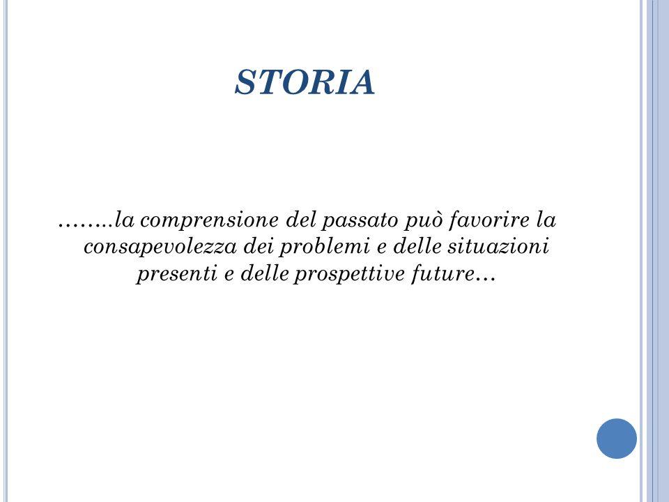 STORIA ……..la comprensione del passato può favorire la consapevolezza dei problemi e delle situazioni presenti e delle prospettive future…
