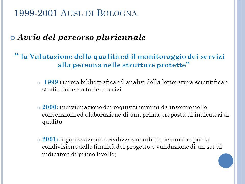 """1999-2001 A USL DI B OLOGNA Avvio del percorso pluriennale """" la Valutazione della qualità ed il monitoraggio dei servizi alla persona nelle strutture"""