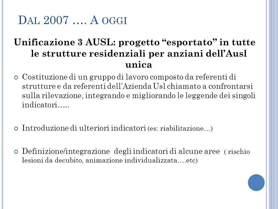 """D AL 2007 …. A OGGI Unificazione 3 AUSL: progetto """"esportato"""" in tutte le strutture residenziali per anziani dell'Ausl unica Costituzione di un gruppo"""