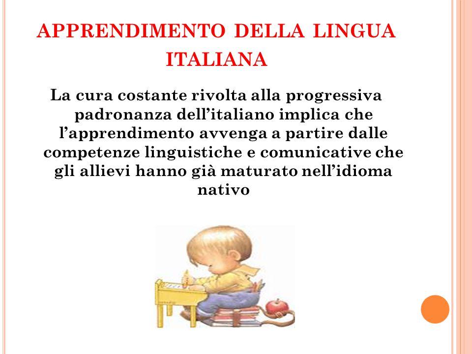 APPRENDIMENTO DELLA LINGUA ITALIANA La cura costante rivolta alla progressiva padronanza dell'italiano implica che l'apprendimento avvenga a partire d