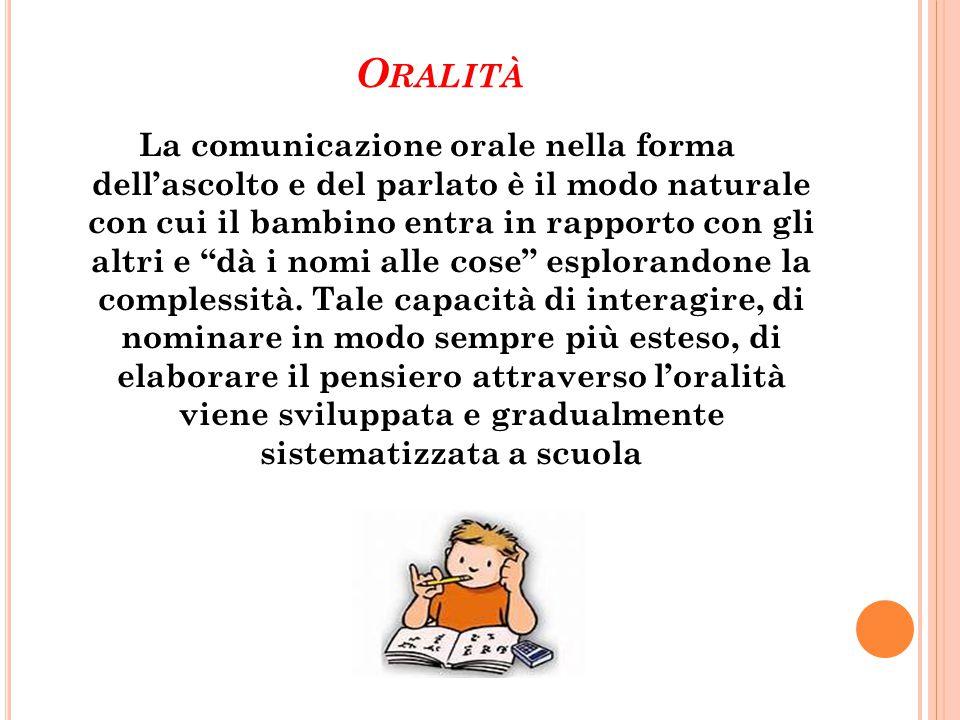 """O RALITÀ La comunicazione orale nella forma dell'ascolto e del parlato è il modo naturale con cui il bambino entra in rapporto con gli altri e """"dà i n"""