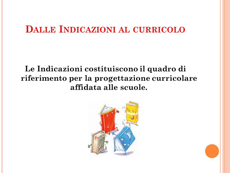 D ALLE I NDICAZIONI AL CURRICOLO Le Indicazioni costituiscono il quadro di riferimento per la progettazione curricolare affidata alle scuole.