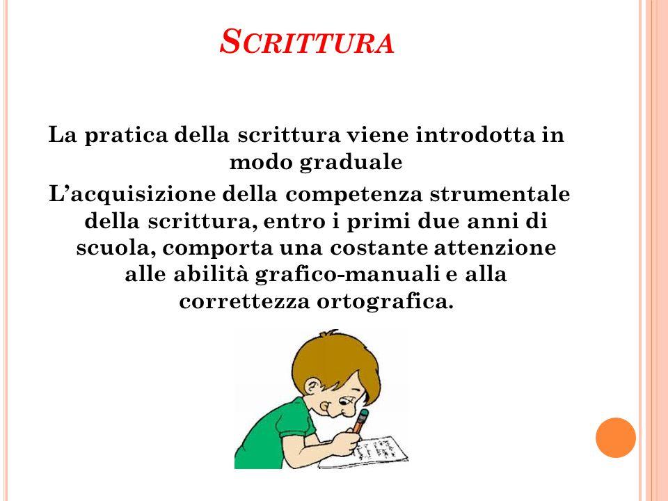 S CRITTURA La pratica della scrittura viene introdotta in modo graduale L'acquisizione della competenza strumentale della scrittura, entro i primi due