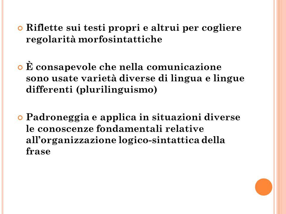 Riflette sui testi propri e altrui per cogliere regolarità morfosintattiche È consapevole che nella comunicazione sono usate varietà diverse di lingua