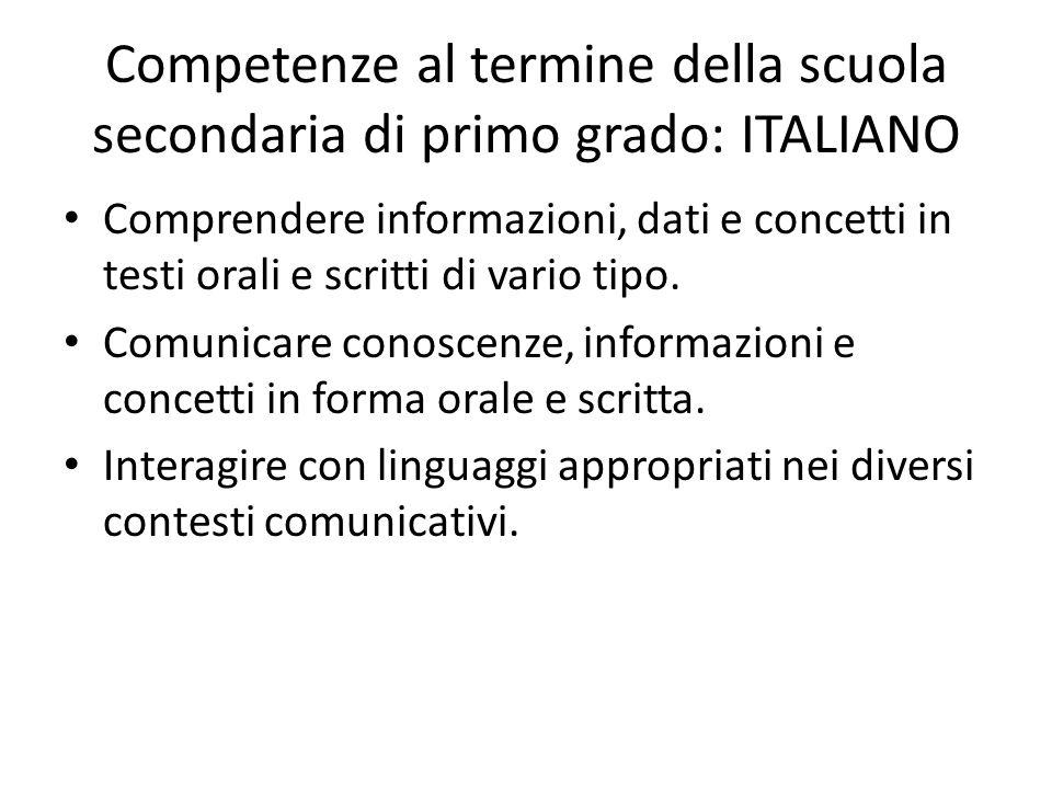 Competenze al termine della scuola secondaria di primo grado: ITALIANO Comprendere informazioni, dati e concetti in testi orali e scritti di vario tip