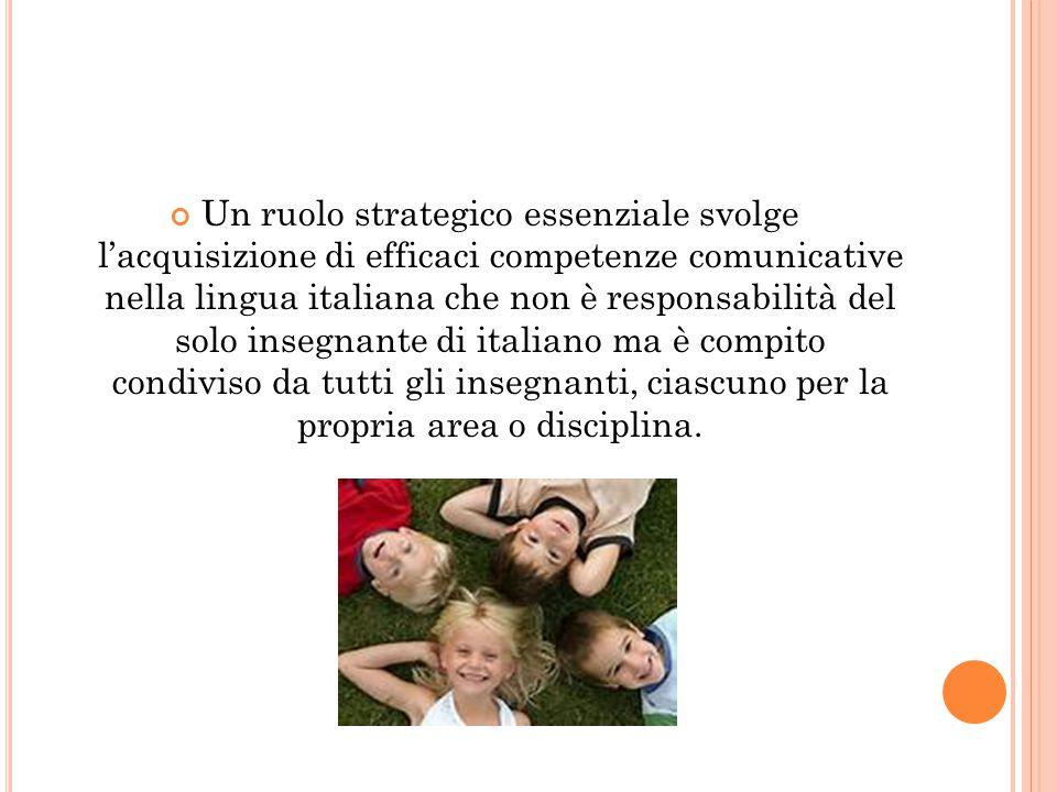 Un ruolo strategico essenziale svolge l'acquisizione di efficaci competenze comunicative nella lingua italiana che non è responsabilità del solo inseg