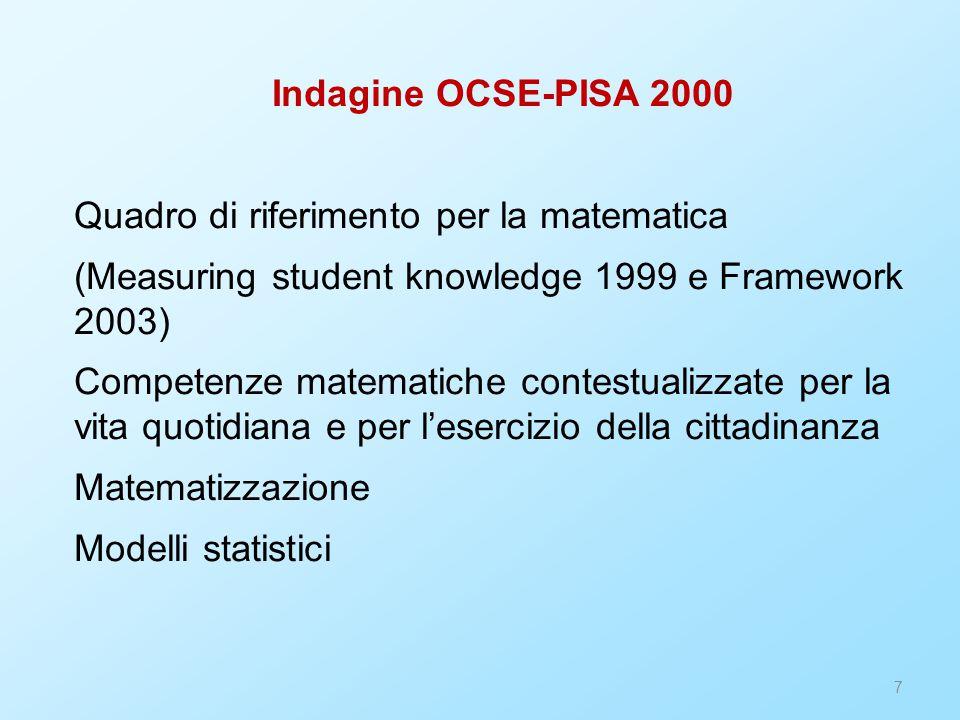 8 PROPOSTA UMI Matematica 2001 – la matematica per il cittadino 4 nuclei di contenuto (essenzialmente gli stessi temi di OCSE-PISA) 3 nuclei di processo, trasversali (misurare, risolvere e porsi problemi, argomentare e congetturare) Per ogni nucleo si trovano competenze generali e inoltre competenze specifiche (verbi), affiancate a contenuti (sostantivi) Divisione 2+3+3.