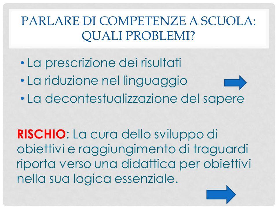 PARLARE DI COMPETENZE A SCUOLA: QUALI PROBLEMI? La prescrizione dei risultati La riduzione nel linguaggio La decontestualizzazione del sapere RISCHIO