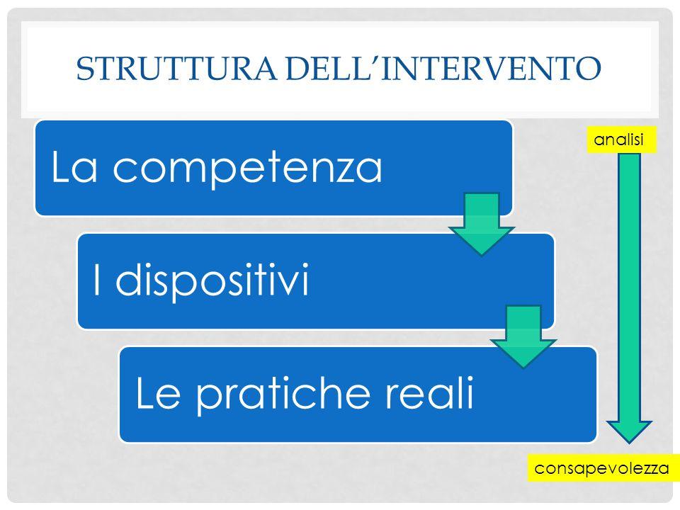 STRUTTURA DELL'INTERVENTO La competenzaI dispositiviLe pratiche reali analisi consapevolezza
