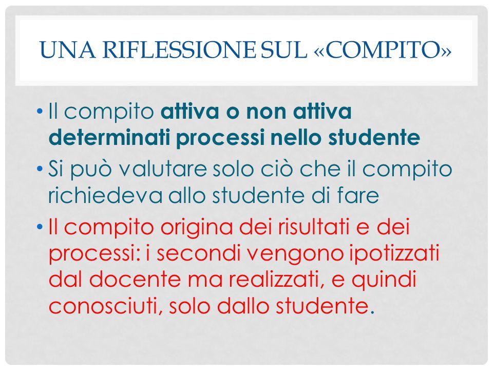UNA RIFLESSIONE SUL «COMPITO» Il compito attiva o non attiva determinati processi nello studente Si può valutare solo ciò che il compito richiedeva al