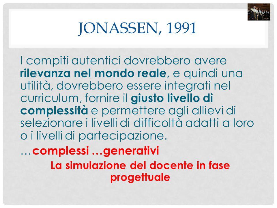 JONASSEN, 1991 I compiti autentici dovrebbero avere rilevanza nel mondo reale, e quindi una utilità, dovrebbero essere integrati nel curriculum, forni