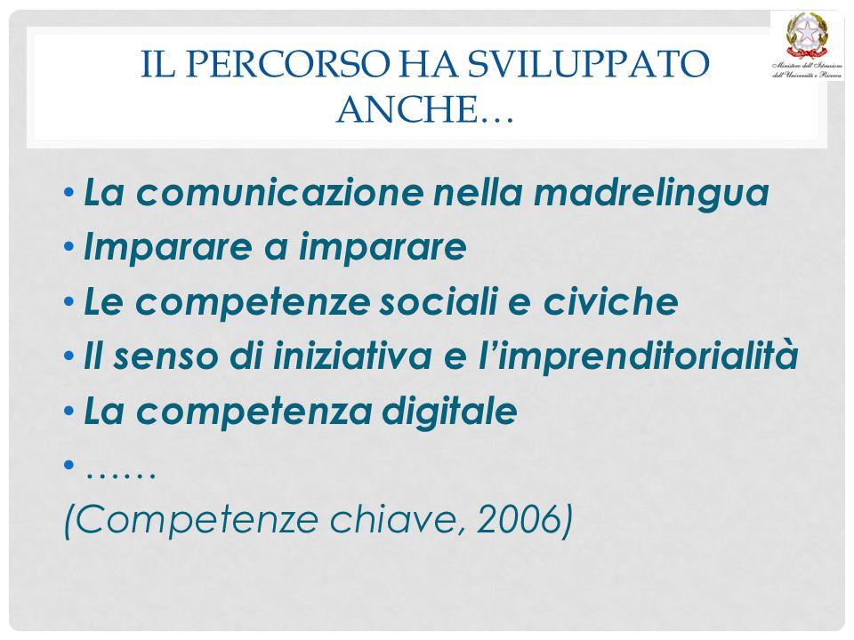 IL PERCORSO HA SVILUPPATO ANCHE… La comunicazione nella madrelingua Imparare a imparare Le competenze sociali e civiche Il senso di iniziativa e l'imp