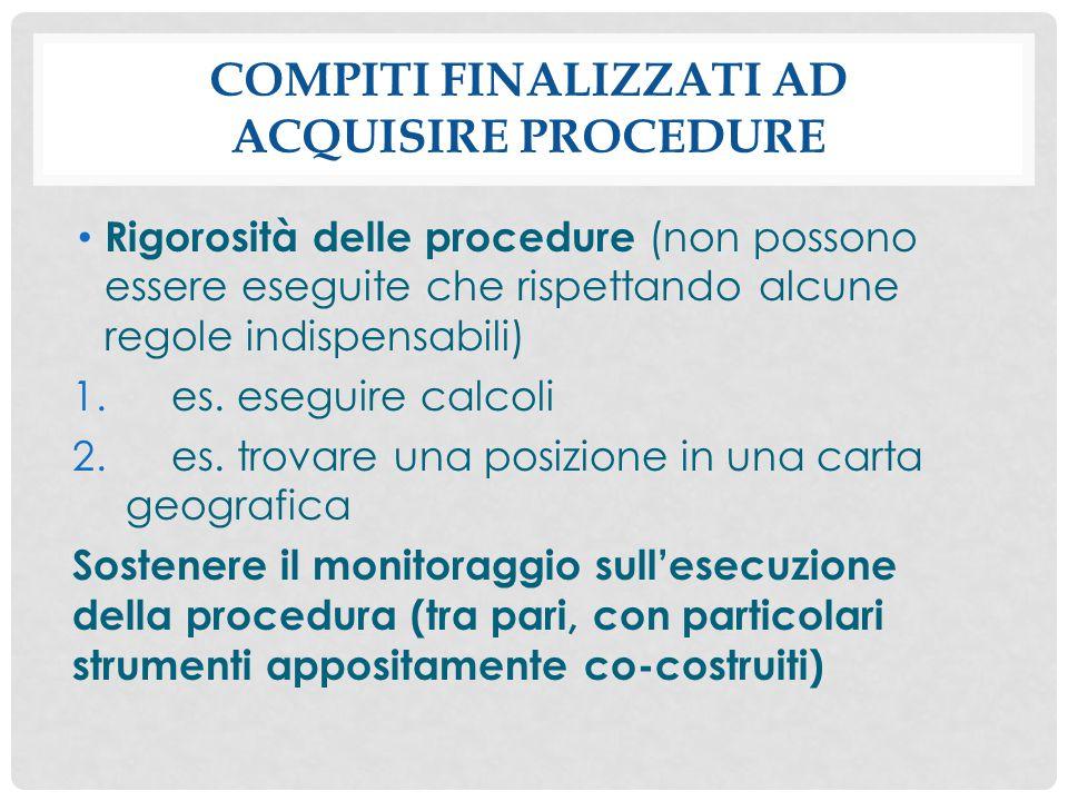COMPITI FINALIZZATI AD ACQUISIRE PROCEDURE Rigorosità delle procedure (non possono essere eseguite che rispettando alcune regole indispensabili) 1.es.