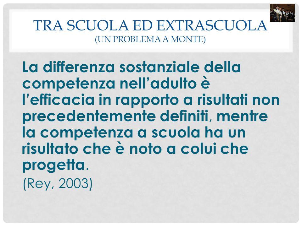 TRA SCUOLA ED EXTRASCUOLA (UN PROBLEMA A MONTE) La differenza sostanziale della competenza nell'adulto è l'efficacia in rapporto a risultati non prece