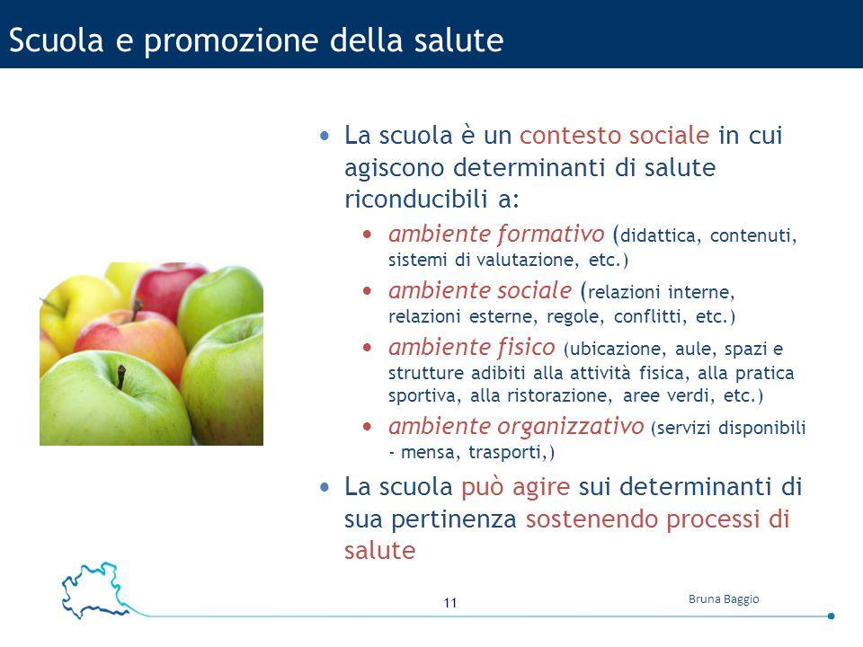 11 Bruna Baggio La scuola è un contesto sociale in cui agiscono determinanti di salute riconducibili a: ambiente formativo ( didattica, contenuti, sis