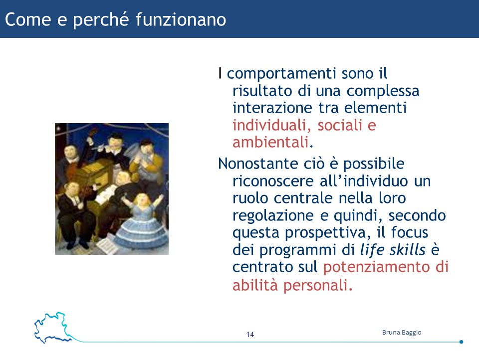 14 Bruna Baggio Come e perché funzionano I comportamenti sono il risultato di una complessa interazione tra elementi individuali, sociali e ambientali.