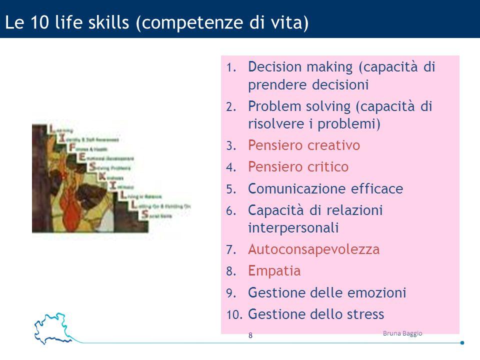 8 Bruna Baggio 1. Decision making (capacità di prendere decisioni 2. Problem solving (capacità di risolvere i problemi) 3. Pensiero creativo 4. Pensie