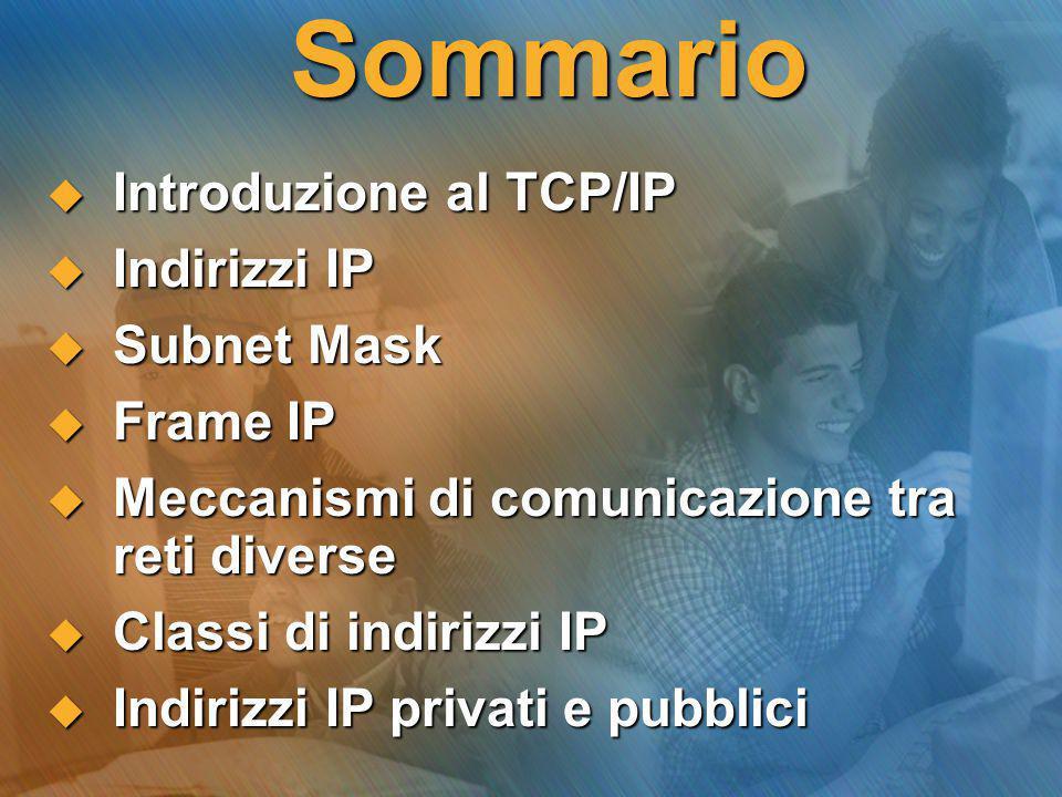 Sommario  Introduzione al TCP/IP  Indirizzi IP  Subnet Mask  Frame IP  Meccanismi di comunicazione tra reti diverse  Classi di indirizzi IP  In