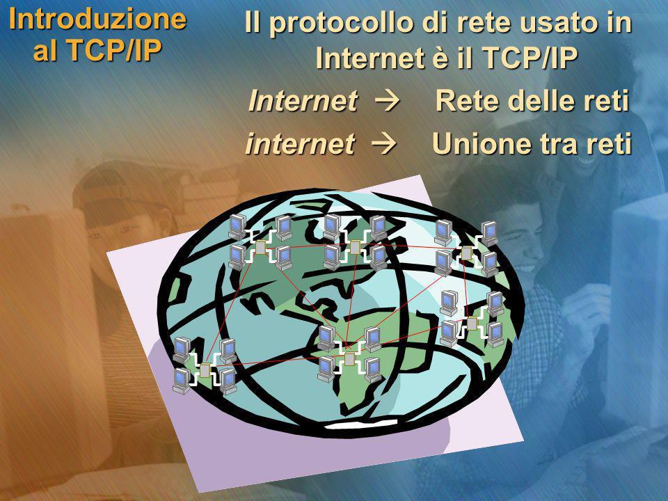 Il protocollo di rete usato in Internet è il TCP/IP Il protocollo di rete usato in Internet è il TCP/IP Internet  Rete delle reti Internet  Rete del
