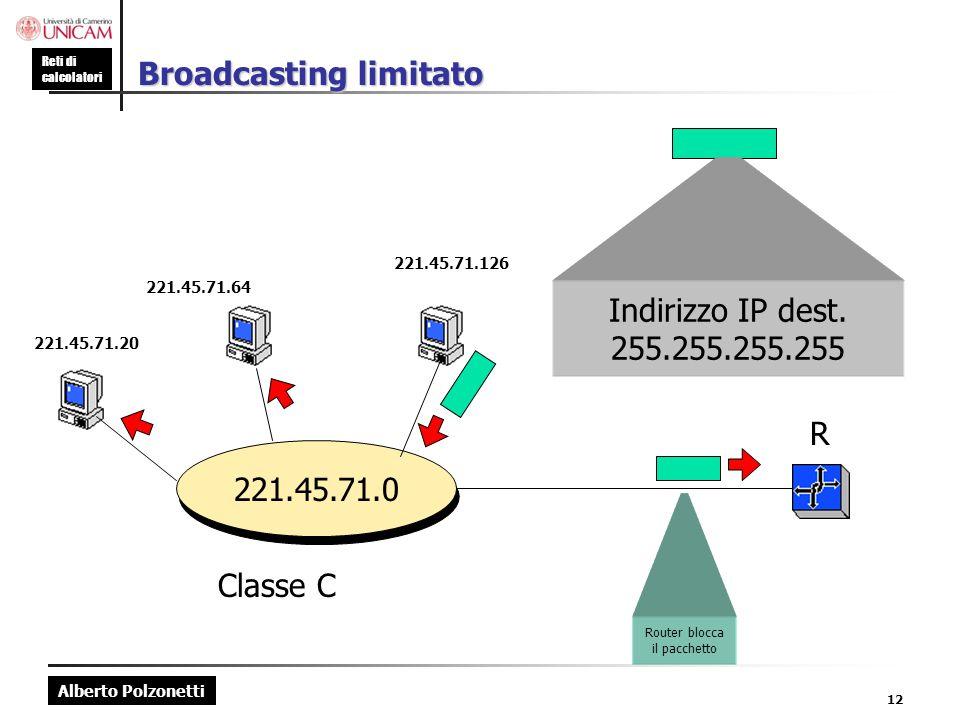 Alberto Polzonetti Reti di calcolatori 12 Broadcasting limitato 221.45.71.0 221.45.71.20 221.45.71.64 221.45.71.126 R Classe C Indirizzo IP dest. 255.