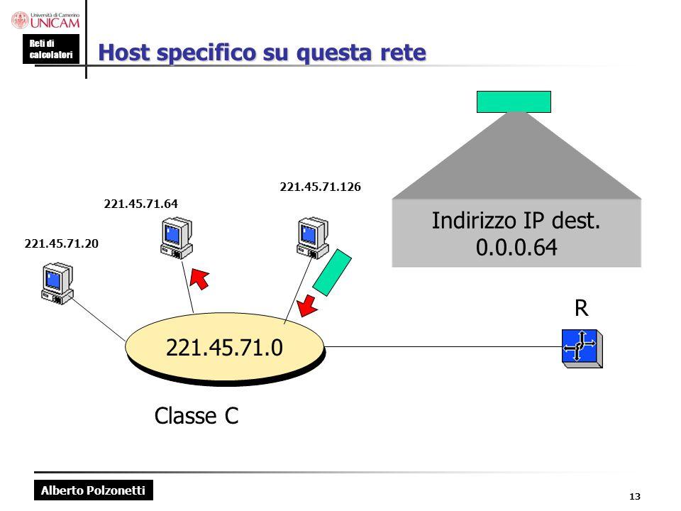 Alberto Polzonetti Reti di calcolatori 13 Host specifico su questa rete 221.45.71.0 221.45.71.20 221.45.71.64 221.45.71.126 R Classe C Indirizzo IP de