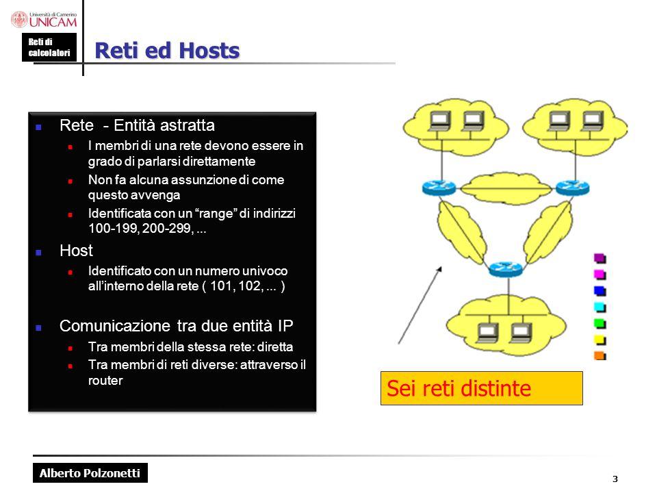 Alberto Polzonetti Reti di calcolatori Indirizzameno IPv4 : Principi Gli indirizzi IP sono identificatori numerici a 32 bit associati in modo univoco ad una scheda di rete o NIC (Network Interface Card) L'interfaccia è il confine tra host e collegamento fisico I router devono necessariamente essere connessi ad almeno due collegamenti Un host, in genere, ha un'interfaccia ; a ciascuna interfaccia è associato un indirizzo IP Ogni interfaccia di host e router di Internet ha un indirizzo IP globalmente univoco 4