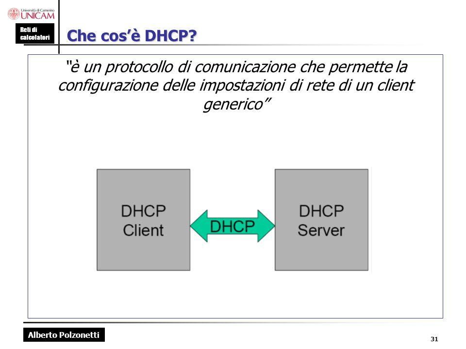 """Alberto Polzonetti Reti di calcolatori 31 Che cos'è DHCP? """"è un protocollo di comunicazione che permette la configurazione delle impostazioni di rete"""