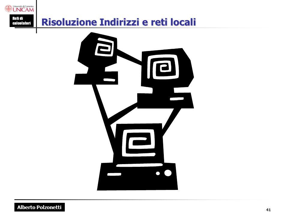 Alberto Polzonetti Reti di calcolatori Risoluzione Indirizzi e reti locali 41