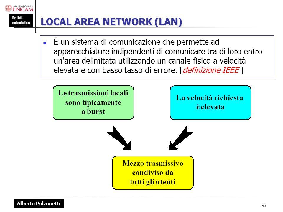 Alberto Polzonetti Reti di calcolatori 42 LOCAL AREA NETWORK (LAN) È un sistema di comunicazione che permette ad apparecchiature indipendenti di comun